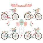清新手绘单车花朵