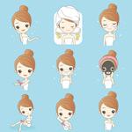 卡通女孩护肤美容