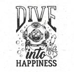 手绘复古潜水元素
