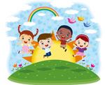 跳跃的卡通儿童