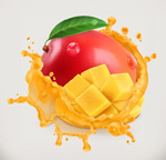 红色芒果和果汁
