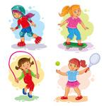 卡通儿童玩耍运动