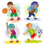 卡通男孩打球运动