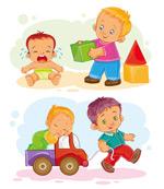 玩耍的卡通儿童