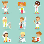 卡通儿童医护人员