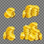 堆放的金币矢量