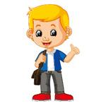 背包的卡通男孩