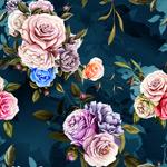 复古蓝色手绘花束