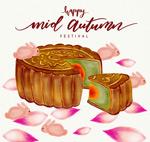 中秋节月饼和花瓣