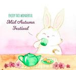 中秋节饮茶兔子