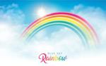 蓝天白云下的彩虹