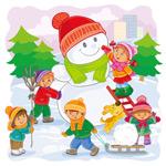 雪地里玩耍的孩子