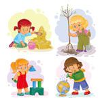卡通小女孩玩玩具