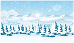 雪地雪山森林风景