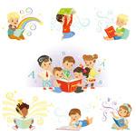 学习的卡通儿童