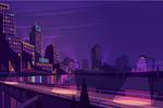 城市高架桥插画