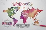 水彩质感世界地图