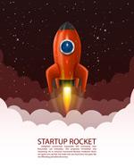 红色火箭和星空