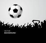足球和人群剪影