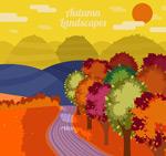 秋季山间道路风景