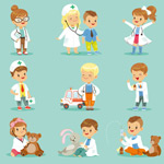 卡通儿童职业医生