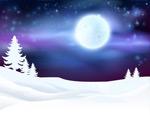 圆月和雪地矢量