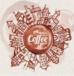咖啡渍绘城市背景