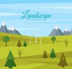 山地与风车风景