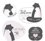 卡通熊婚礼标签