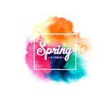 水彩墨迹春天来了