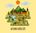 秋季郊外风景矢量