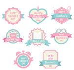 粉色教师节标签