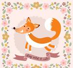 森林狐狸和花边