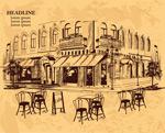 手绘室外咖啡馆