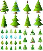 卡通圣诞树矢量
