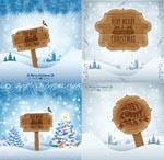 圣诞木纹吊牌标签