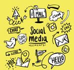 手绘社交媒体元素