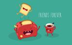卡通面包机和咖啡