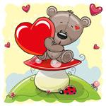 蘑菇上的泰迪熊