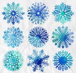 水彩绘蓝色雪花