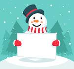 举空白纸板的雪人