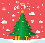 雪地绿色圣诞树