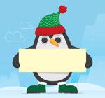 举白纸板的企鹅