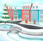 雪后圣诞城市风景