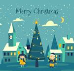 圣诞节小城和孩子