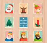 圣诞元素邮票矢量