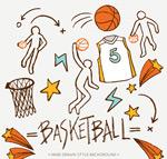 彩绘篮球元素