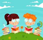 草坪读书的儿童