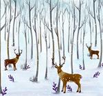 水彩森林里的驯鹿