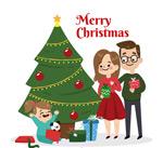 圣诞节三口之家